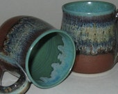Pottery Mug, Reg 10-12 oz in Rainforest Green, Microwave and Dishwasher-safe, Wheel-Thrown