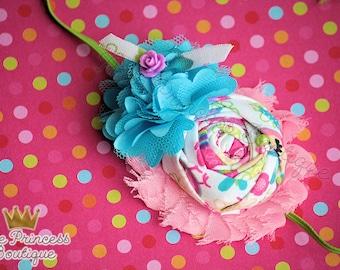 Hopscotch - Headband, Baby Headband, Photography Prop, Couture Headband, Hair Clip, Shabby Chic Headband, Spring Headband, Blue and Pink