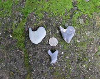 3 Small Natural Heart Rocks - Weirdly Abstract Heart Stones - Love Rocks - Valentine - Wedding - HR 73