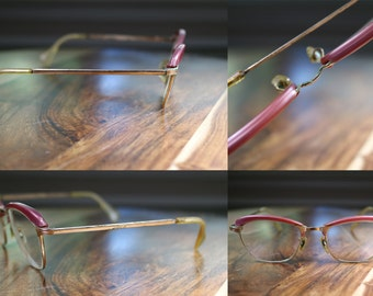 Pink Vintage Cat Eyeglasses Clubman Style Combo Frame 44/18 Gold Filled Condition Discount