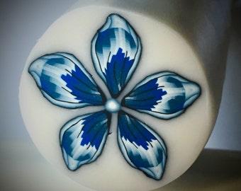 Blue flower polymer clay cane, clay canes