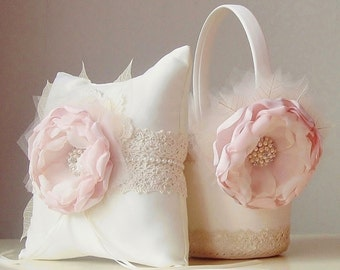 Flower Girl Basket, Ring Bearer Pillow, Vintage Wedding, Blush Basket and Pillow Set