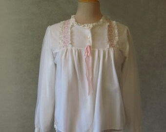 White Bedjacket With Pink Trim