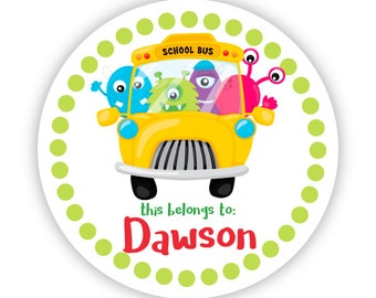 Name Tag Stickers - Monster School Bus, Lime Polka Dot, School Monster Personalized Name Label Tag Stickers - Back to School Name Labels