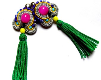 PROMO - Aliza - tiny but eye-catching soutache earrings, boho, ethnic, unique, with a tassel