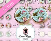 75% OFF SALE Digital collage Circles SHABBY Memories 14 mm Digital Collage Sheet also for 12 mm pairs of earrings