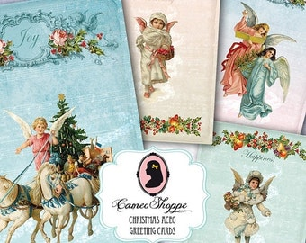 75% OFF SALE MAGIC Christmas Digital Collage Sheet Atc Aceo Digital Angels Scrapbooking Greeting cards