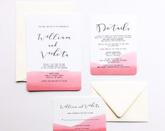 Watercolor Dipped Wedding Invitation, Invite Suite