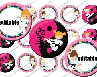 Karate Girls Bottle Cap Images 1 inch circle image sheet Digital Collage INSTANT DOWNLOAD Clipart Martial Arts