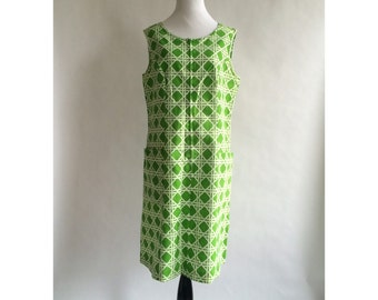 Green and White Geometric Dress // Plus Size - SALE