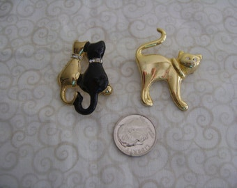Vintage Two Small Cat Brooches with Rhinestones