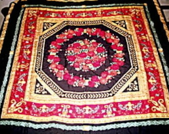 Classic Silk Scarf Hand Rolled Hem Vibrant Jewel Colors 35 x 35 Inches