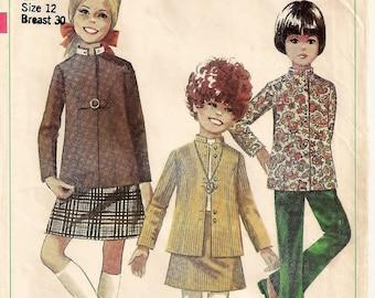 An A-Line Skirt & Long Jacket w/ Detachable Nehru Collar Pattern (No Pants or Waistband Pattern): Uncut - Girls Size 12 • Simplicity 7923