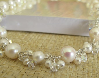 Perfect Bridal NECKLACE With White Freshwater Pearl, Clear Swarovski Crystal In Sterling Silver