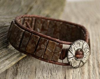 Purple brown cuff bracelet. Stone cuff. Rustic beaded bracelet