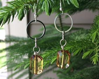 Hand crafted emerald cut amber bead dangle earrings