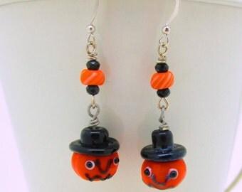 Halloween Pumpkin Dangle Earrings, Jack O Lantern Earrings, Lampwork Pumpkin Earrings