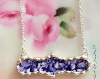 Broken China Jewelry. Broken China Necklace, Blue and White China, Adams China, Recycled China Necklace