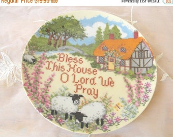 End of Summer Sale Bless This House, Cross Stitch Plate, Made by Creative Circle in 1986, Artist Linda Griffith, Vintage Item, Made in Japan