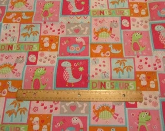 Pink Dinosaurs Blocked Cotton Fabric by the Yard