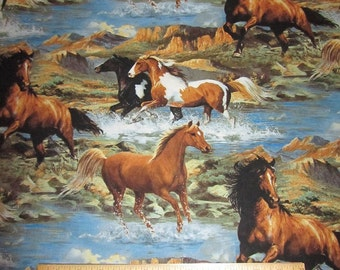 Running Wild Horses Wilderness/Mountain Cotton Fabric by the Yard