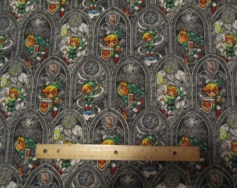 Gray Legends of Zelda Stained Glass Windows Cotton Fabric by the Yard