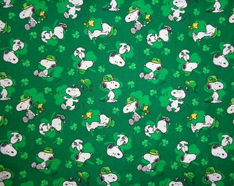 Green Snoopy/Woodstock St Patrick's Day Four Leaf Clover Cotton Fabric by the Half Yard