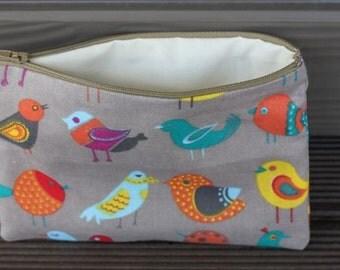 Bird Print make up bag , accessory bag, phone pouch, purse