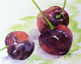 red burgundy bing cherry fruit handpainted watercolor greeting card