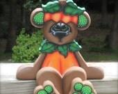 """Adorable hand made October bear """"Octavia""""  woodcraft shelf sitter"""