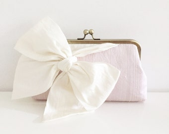 Pink and Ivory Bridal Clutch, Wedding Clutch, Personalized Bridesmaids Clutches, Party Purse, Evening Clutch, Pink Wedding, Style C002