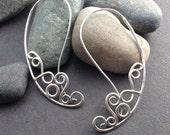 Sterling silver earrings, long ear wire hoop loop, large delicate flowing curling lace filigree wire design, hammered, solid sterling