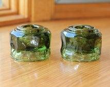Fostoria Green Glass Candlestick Holder Set