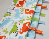 Quick Ship!...Lovey Ribbon Sensory Blanket...Dinos with Minky...Can Be Personalized...No Loops