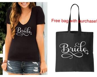 Bride Black short sleeve vneck shirt & Free Matching Tote Bag S M L XL Plus Size 1x 2x 3x 4x 5x