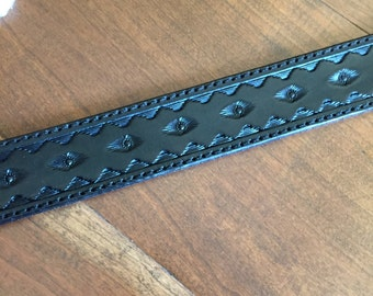Hand tooled Black Belt, lined and stitched