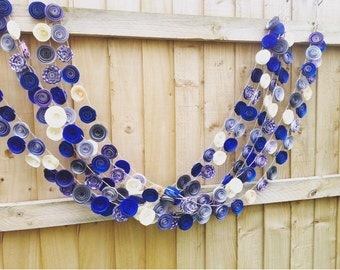 paper flower garland | royal blue wedding | flower garland | photo backdrop | flower bunting | paper flowers | blue silver and ivory wedding
