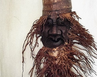 Reclaimed Wood Art /Up-Cycled Root Sculpture /Folk Art Wood Sculpture / Hand Carved Root /  / Wall Hanging Wood Art / Root Carved Sculpture