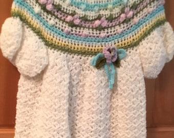 Little girls hand crochet dress size 3to4