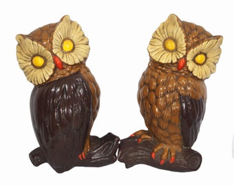 Vintage 60's Set of 2 Owl Plaster Wall Hangings