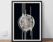 ON SALE Geometric Poster Moon Slices Art Print Black and White