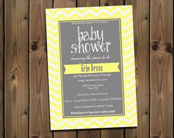 Yellow and Gray Baby Shower Chevron Invitation, Digital File,  PRINTABLE _1180