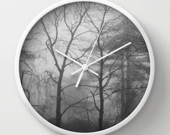 Woodland Trees and Fog Wall Clock, forest wall clock, trees wall clock, tree wall clock, woodland clock, black white clock, black and white