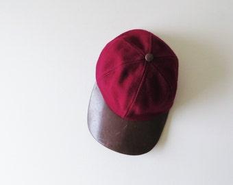 80s Schuman Sullivan Baseball Cap Burgundy Wool and Brown Leather Rim Trucker Hat Women's Small