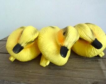 3 bath ducks - retro toy - bathroom decor - kids fun- water play- swimming ducks- yellow plastic