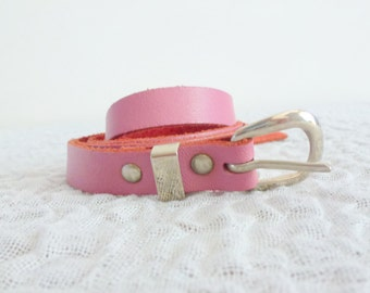 pink silver belt- real leather