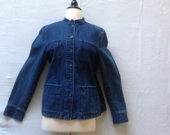 Vintage denim jacket, button front with Mandarin collar / 1990's vintage Talbots jacket / women's size Medium / front patch pockets