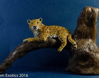 Polymer Clay Jaguar on Branch Figurine