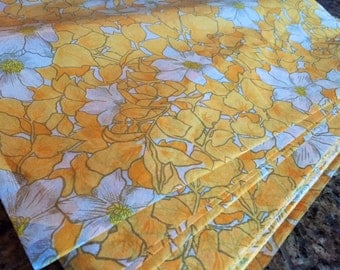 "3 Vintage Rice Paper Sheets        20"" x 29"" White and Orange Gold  Floral"