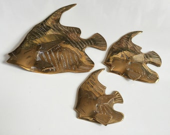 3 Vintage Brass Angel Fish Wall Decor
